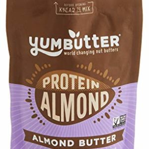 Protein Almond Butter by Yumbutter, Plant Based Protein with Probiotics, Keto Nut Butter, Paleo, Gluten Free, Vegan, Non GMO, 6.2oz Pouch