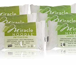 Miracle Noodle Shirataki Fettuccini & Angel Hair Variety Pack, Gluten-Free, Zero Carb, Keto, Vegan, Soy Free, Paleo, Blood Sugar Friendly, 7oz (Pack of 6)