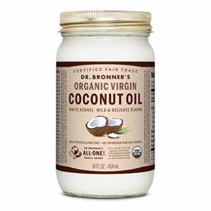 Dr. Bronner's - Organic Virgin Coconut Oil (White Kernel, 14 ounce) - Coconut Oil for Cooking, Baking, Hair & Body, Unrefined & Fresh-Pressed, Mild Flavor, Versatile, Fair Trade, Vegan, Non-GMO