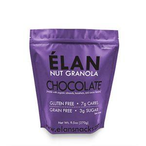 ELAN Dark Chocolate Macadamia Granola, Keto Dessert, Low Net Carb Fat Bomb Snack, Low Fodmap Diet Cereal, Organic Paleo Breakfast Food (9.5 Oz Travel Bag)