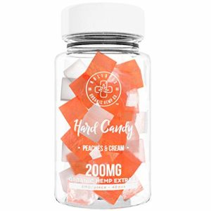 Organic Hemp Infused Hard Candy, 200 mg (5mg/piece) - Made with Organic Beet Sugar - Relieve Stress, Boost Mood, Gluten Free, Non-GMO, USDA Certified Vegan 40 Candies, Peach and Cream