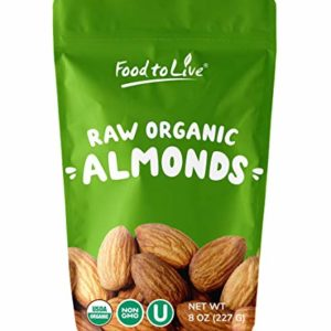 Raw Almonds, 8 Ounces - Whole, Shelled, Unsalted, Bulk, Kosher