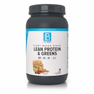 LIV Body | Plant-Based Vegan Lean Protein + Greens | Digestive Enzymes + Probiotics | 25g of Protein, 5g of Carbs & 4g of BCAA | 3 Great Flavor Choices (Cinnamon Coffee Cake)