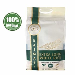 Pride Of India - Extra Long Indian Premium White Basmati Rice, 10 Pound (4.54 Kilo) Reclosable Bag - Naturally Aromatic, Aged, Flavorful, Slender, Non Sticky Grains - Great Value for Money