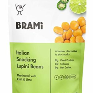 BRAMI Lupini Beans Snack, Chili & Lime   9g Plant Protein, 0g Net Carbs   Vegan, Vegetarian, Keto, Mediterranean Diet   2.3 oz (8 Pack)