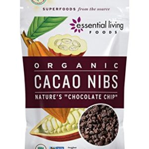 Essential Living Foods Organic Cacao Nibs, Healthy Natural Unsweetened Chocolate Chips for Trail Mixes, Vegan, Superfood Protein Nutrients, Non-GMO, Gluten-Free, Kosher, 6 Ounce Resealable Bag