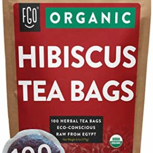 Organic Hibiscus Tea Bags   100 Tea Bags   Eco-Conscious Tea Bags in Foil Lined Kraft Pouch   Raw from Egypt   by FGO