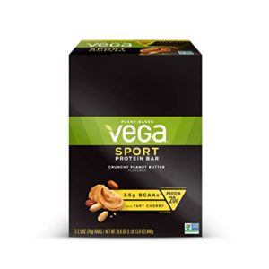Vega Sport Protein Bar Crunchy Peanut Butter (12 Count) - Plant Based Vegan Protein Bars, Non Dairy, Gluten Free, Non GMO