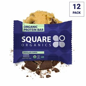 Square Organics Protein Bars, Dark Chocolate Cookie Dough, Vegan Protein, Coconut MCT Oil, Pre Workout Healthy Snack, 12-Pack