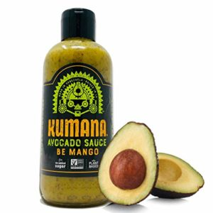 Kumana Avocado Sauce - Spicy Mango. A Keto Friendly Sauce with Ripe Avocado, Mango and Jalapeño Chili Peppers. Ketogenic and Paleo. Gluten Free, No Added Sugar and Low Carb. 13.1 Ounce Squeeze Bottle.