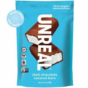 UNREAL Dark Chocolate Coconut Bars | Certified Vegan, Non-GMO, Less Sugar | 3 Bags