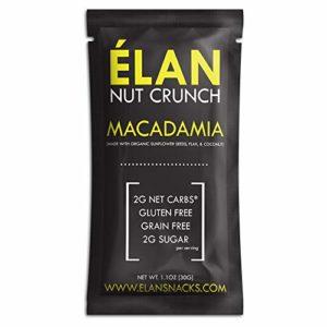 ELAN Macadamia Nut Crunch Shots, Keto Snacks, 2g Net Carbs - Paleo, Vegan, Grain Free, Diabetic Friendly - High Quality Fat Bomb Energy Food (Coconut Flax Sunflower Seeds, 8 Packets)
