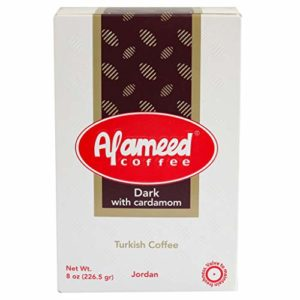 Al Ameed Gourmet Turkish Ground Coffee Dark Roast With Cardamom, 100% Authentic Arabica, Fresh & Finely Ground, 8 Ounce