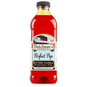 Dutchman's Popcorn Oil, Perfect Pop Butter Flavored Canola Oil, Colored with Natural Beta Carotene, Make Theater Style Popcorn at Home, 1 Liter Jar - Vegan, Healthy, Zero Trans Fat