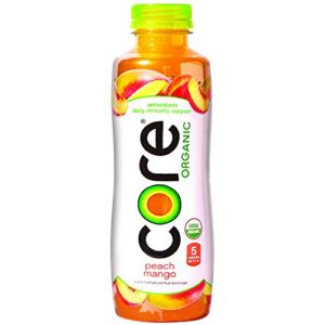 CORE Organic, Peach Mango, 18 Fl Oz (Pack of 12), Fruit Infused Beverage, Vegan/Gluten-Free, Non-GMO, Refreshing Flavored Water with Antioxidants, Great For Immunity Support