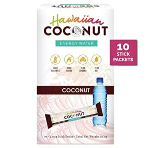 New Hawaiian Coconut Water Healthy Energy Drink - Instant Natural Energy Drink 10 Packets - Non GMO, Vegan, Gluten Free