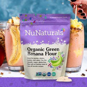 NuNaturals Organic Green Banana Flour Certified Organic, Non-GMO, Vegan, Gluten Free, 22 Servings (1 lb)