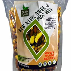 Raw Unsalted Deluxe Omega 3 Mixed Nuts (Almonds, Brazil Nuts, Cashews, Hazelnuts and Walnuts) - All-Natural Non-GMO No Added Salt or Fat