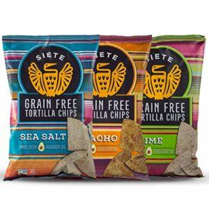 Siete Grain Free Tortilla Chips Mix, 2 Sea Salt, 2 Lime, 2 Nacho, 5 oz bags, 6-Pack