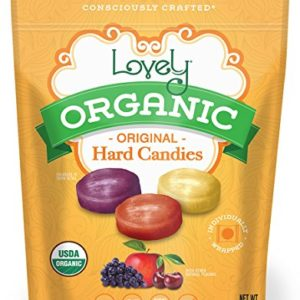 ORGANIC Hard Candies - Lovely Co. 5oz Bag - Cherry, Grape & Apple Flavors | NO HFCS, GLUTEN or Fake Ingredients, 100% VEGAN & Kosher!