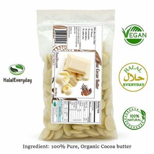Raw Cocoa Butter-16 oz. - Non GMO - Vegan - Small disks for easy measurement - By SAAQIN - Sold exclusively by HalalEveryday