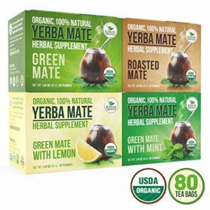 Organic Yerba Mate Tea Bags - Variety Pack - Mate Cocido - Natural Detoxifier - 80 Tea Bags - 20 of Each Flavor (2 grams each) Kiss Me Organics