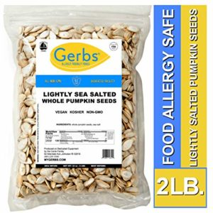 Lightly Sea Salted Whole Pumpkin Seeds, 2 LBS by Gerbs - Top 14 Food Allergy Free & Non GMO - Vegan, Keto Safe & Kosher - Pepitas grown in USA