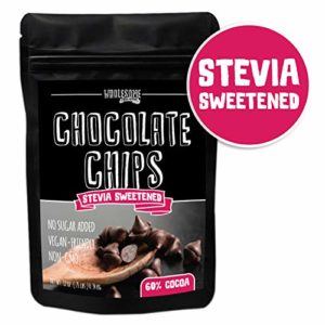 Sugar Free Chocolate Chips, Stevia Sweetened, 12 oz. Value Size, Non-GMO, Vegan, Keto, Low Carb, 60% Cocoa, All Natural, Baking Chips, Gluten Free, No Sugar Added