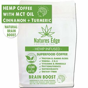 Natures Edge Brain Boost Blend - Medium Roast Hemp Coffee Ground with MCT Oil, Cinnamon, Turmeric, Antioxidants, Minerals, Fiber and Heart-Healthy Unsaturated Fats - 12oz
