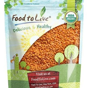 Organic Red Split Lentils, 8 Ounces - Dry Beans, Non-GMO, Kosher, Raw, Masoor Dal, Bulk