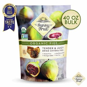 ORGANIC Turkish Dried Figs - Sunny Fruit - 40oz Bulk Bag | Tender & Juicy Figs - NO Added Sugars, Sulfurs or Preservatives | NON-GMO, VEGAN, HALAL & KOSHER