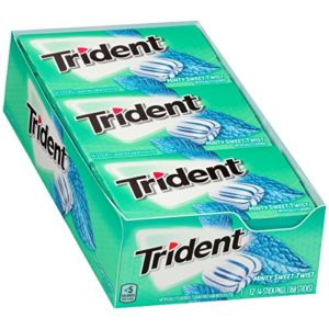 Trident Minty Sweet Twist Sugar Free Gum - with Xylitol - 12 Packs (168 Pieces Total)
