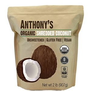 Anthony's Organic Shredded Coconut, 2lb, Unsweetened, Gluten Free, Non GMO, Vegan, Keto Friendly