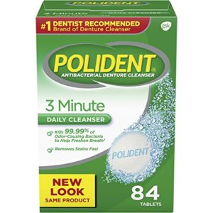 Polident 3 Minute Triple Mint Antibacterial Denture Cleanser Effervescent Tablets, 84 count