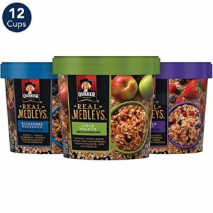 Quaker Real Medleys Instant Oatmeal, 3 Flavor Variety Pack (12 Cups)