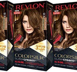 Revlon Colorsilk Buttercream Hair Dye, Light Golden Brown, 3 Count