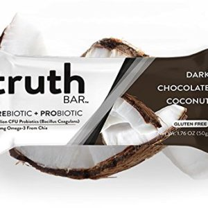 Truth Bar (Prebiotic + Probiotic) - Dark Chocolate Coconut (12 Pack) - Low Sugar, Vegan, Gluten Free, High fiber, Soy Free, Non-GMO, Kosher, Vegan Nutrition Snack Bar with Premium Dark Chocolate