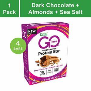 Kashi GO Protein Bars - Dark Chocolate Almond Sea Salt | Vegan | Non-GMO | Box of 4