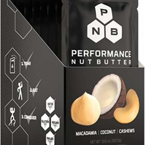 Performance Nut Butter Macadamia, Coconut & Cashew Keto Nut Butter - Ketogenic, Paleo & Vegan Friendly Low Carb Healthy Fat Bomb Perfect Whole 30 Approved Trail Ready Snack 10 Pack of Squeeze Packets