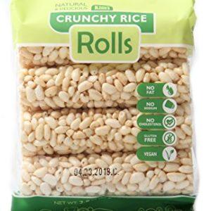 Rice - 12 Pack Kim's Magic Pop Crunchy Rice Rolls | 12 Pack | 8 Rolls Each | Gluten Free, Vegan, Vegetarian | Natural Ingredients | No Fat, No Sodium, No Cholesterol | Healthy, Sweet Snack | Natural C