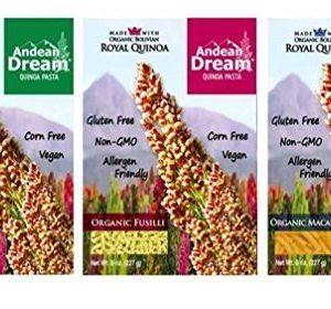 Andean Dream Organic Vegan Gluten Free Quinoa Pasta 3 Flavor Variety Bundle: (1) Andean Dream Shells, (1) Andean Dream Fusilli, and (1) Andean Dream Macaroni, 8 Oz. Ea.