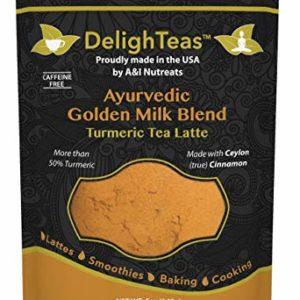 Ayurvedic Organic Golden Milk blend; No added sugar or sweetener; 5oz (120 Servings); More than 50% Turmeric with Ceylon (true) Cinnamon; Anti-Inflammatory - Best for organic vegan latte recipe