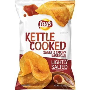 Lay's Kettle Cooked Lightly Salted Sweet & Smoky BBQ, 8 oz Bag