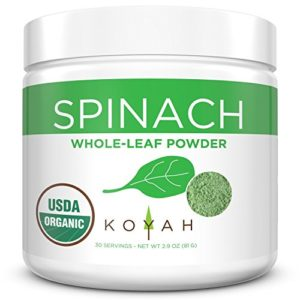 KOYAH - Organic Freeze-dried Spinach Powder (Equivalent to 30 Cups Fresh): USA Grown, Whole-Leaf Powder