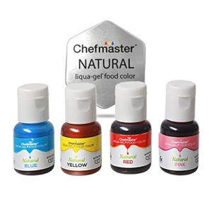 Chefmaster All Natural Food Coloring, Vegan-Friendly Dye for Baking, Icing, Cooking, Fondant, Bath Bomb Molds, and DIY Projects, Set of 4 in Blue, Yellow, Red, Pink Liqua-Gel Food Coloring