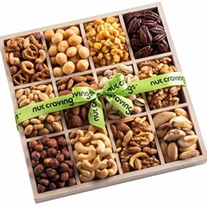 Holiday Mixed Nuts Wood Gift Box - Gourmet Assortment of Nuts, Pretzel Pub Mix & Other Salty, Savory Snacks for Mother's Day, Christmas, Holiday or Corporate - Large Variety in Sectional Tray