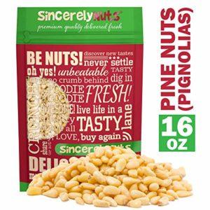 Sincerely Nuts Pine Nuts'Pignolias | 1 Lb. Bag | Delicious Gourmet Choice | Healthy Snack Food | Gluten Free, Kosher, Vegan | Fresh Shelled Pignoli | Paleo & Keto Diet Friendly | Great for Pesto