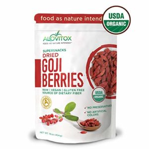 Alovitox Organic Goji Berries 16 oz | Raw, Vegan, Gluten Free Super Snack | High in Plant Based Protein, Dietary Fiber, Vitamin A & Iron | Large Berries for Eating, Trail Mixes, Cereals,Smoothies