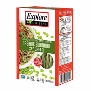 Explore Cuisine Organic Edamame Spaghetti (2 Pack) - 8 oz - High Protein, Gluten Free Pasta, Easy to Make - USDA Certified Organic, Vegan, Kosher, Non GMO - 8 Total Servings