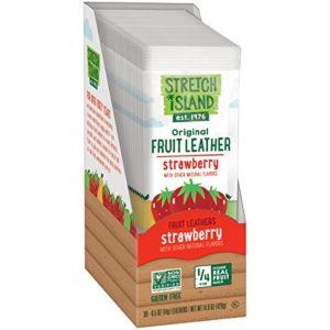 Stretch Island Strawberry Original Fruit Leather Snacks - Vegan   Gluten Free   Non-GMO   No Sugar Added - 0.5 Oz Strips (30 Count)